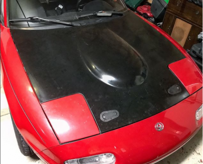 '90 - '97 Miata New Lightweight 9 lb V6, V8 & K24 Convsersion Fiberglass Race Hood