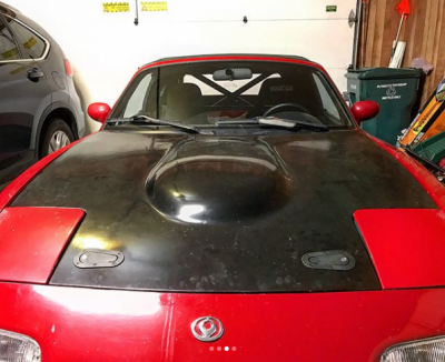 '90 - '97 Miata New Lightweight 9 lb V6, V8 & K24 Convsersion Fiberglass Race Hood - Image 9